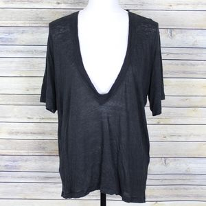 IRO Jahal Linen Deep V-Neck Tee Black Size Medium